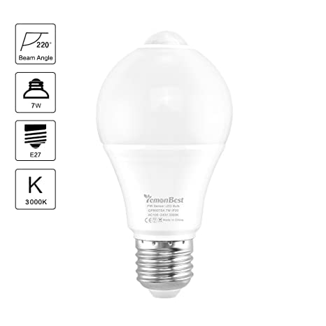 Konesky LED E27 Bombilla 7W PIR Sensor de Movimiento Lámpara Auto Encendido/ Apagado Iluminación Nocturna