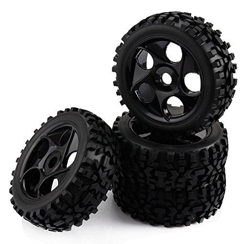 Yiguo 17mm Hex Plastic 5 Holes Wheel Rim and Diamond Arrow Pattern Tires for RC 1:8 Off Road RC Car Black set of 4