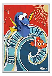 Finding Dory Go With The Flow Poster Magnetic Notice Board Silver Framed - 96.5 x 66 cms (Approx 38 x 26 inches)