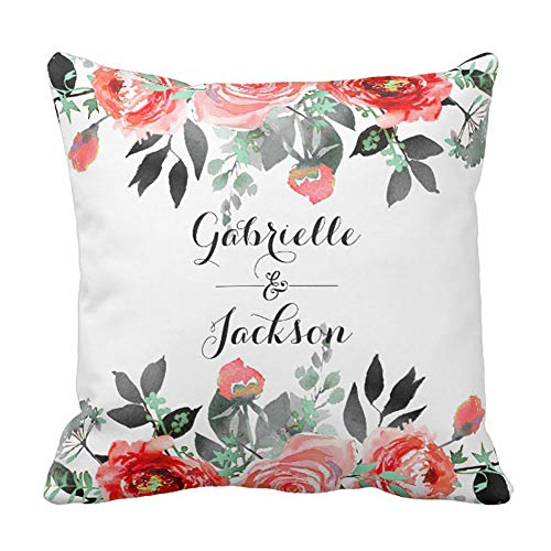 Jay94 Peach & Mint Peony Floral Wedding Monogram Ring Throw Pillow Cushion Cover 18x18 Inch 45x45cm