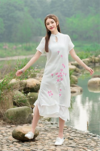 Womens manches courtes style brodé chinois Deux couche Slim Fit Cotton Linen Dress