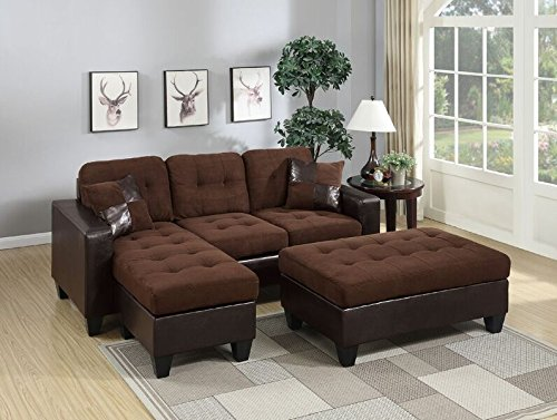 Poundex Reversible Sectional Sofa Set with Ottoman