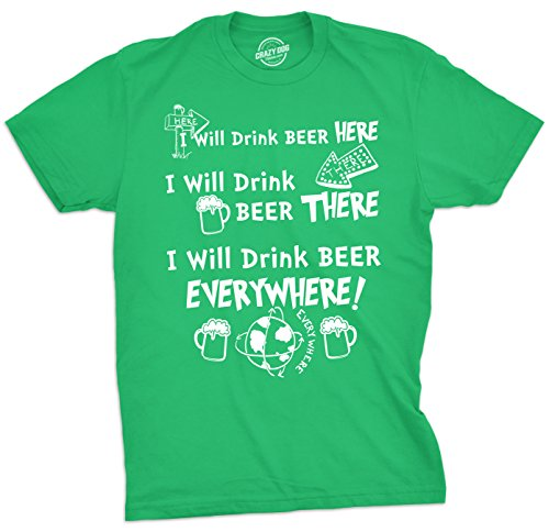 Mens I Will Drink Beer Everywhere Tshirt Funny ST Patricks Day Tee For Guys -XL (Blend T-shirt Will)