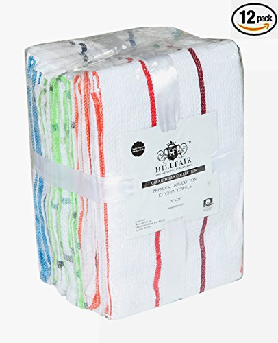 """PACK OF 12 - 100% Cotton Kitchen Dish Towels– Multi Purpose Kitchen Towels– Cotton Dish Cloth Napkins- Multi Color Checks & Stripes Dish Towels– EXTRA LARGE 18"""" X 28"""" INCHES Kitchen towels-By - Purpose Multi Check"""