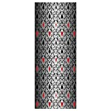 3d Door Wall Mural Wallpaper Stickers [ Poker Tournament Decorations,Card Symbols Ornament Victorian Floral Swirls Pattern Decorative,Silver Black Red ] Mural Door Wall Stickers Wallpaper Mural DIY Ho