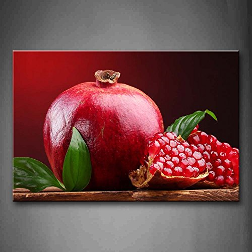 First Wall Art - Red Fresh Pomegranate With Green Leaf Wall Art Painting The Picture Print On Canvas Food Pictures For Home Decor Decoration Gift by Firstwallart