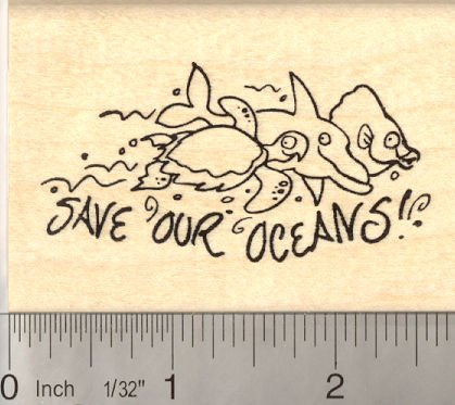 Save our Oceans Rubber Stamp