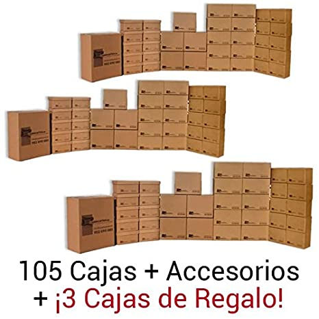 Cajadecarton - Pack de Cajas para Mudanza GRAN Mudanza, 105 Cajas Surtidas + 3 Cajas de Regalo + Material de Embalaje Diverso: Amazon.es: Oficina y ...