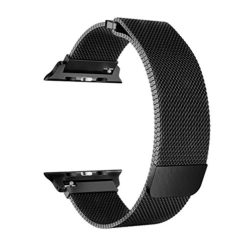 BRG Compatible Apple Watch Band 42mm, Stainless Steel Mesh Milanese Loop with Adjustable Magnetic Closure Replacement iWatch Band Compatible Apple Watch Series 3 2 1 (42mm Black) by BRG