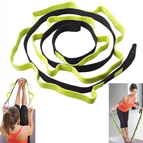 Sahara Sailor Yoga Stretching Strap Exercise Bands W Poster Loops for Flexibility and Physical Therapy Ballet Stretches