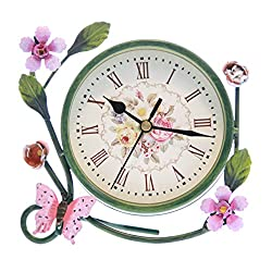 6 Vintage Antique Floral Metal Round Analog Silent Covered Quartz Desktop Clock
