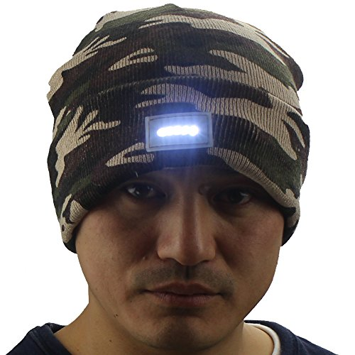 5-LED-Lighted-Night-Fishing-Camping-Hunting-Hiking-ON-OFF-Knitted-Beanie-Hat-Cap
