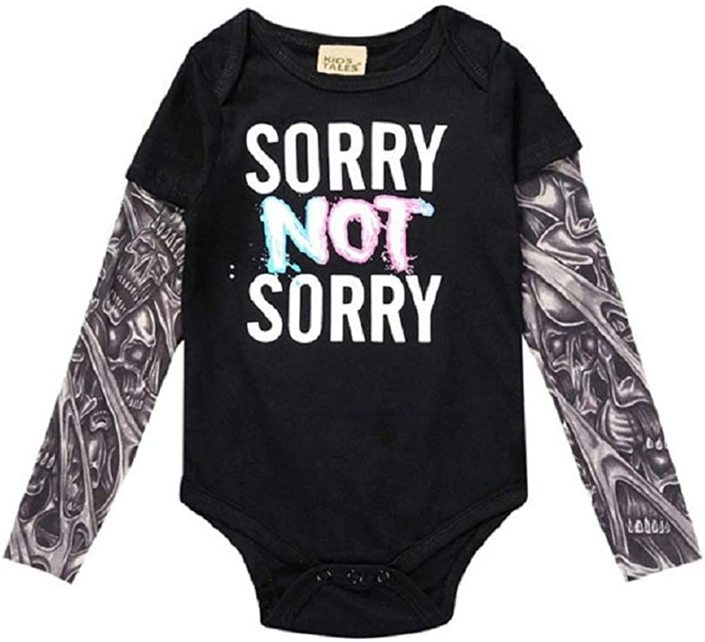 Hooyi Newborn Baby Clothes Tattoo Sleeve Bodysuit Letter Print Outfit Jumpsuit Shirts Costumes