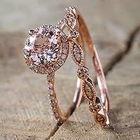 lertchai Antique 18K Rose Gold Morganite Gemstone Ring Set Wedding Women Jewelry Sz 6-10 (8)