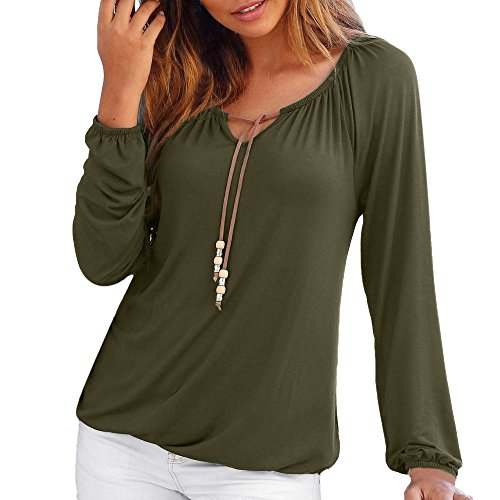 Mimfor Women V Neck Solid Tops Bowknot Long Sleeve Tops Blouse T-Shirt (M, Green) ()
