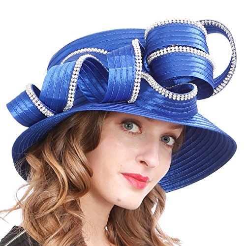 - Womens Tea Party Church Baptism Kentucky Derby Dressy Hat (Rhinestone-Blue)