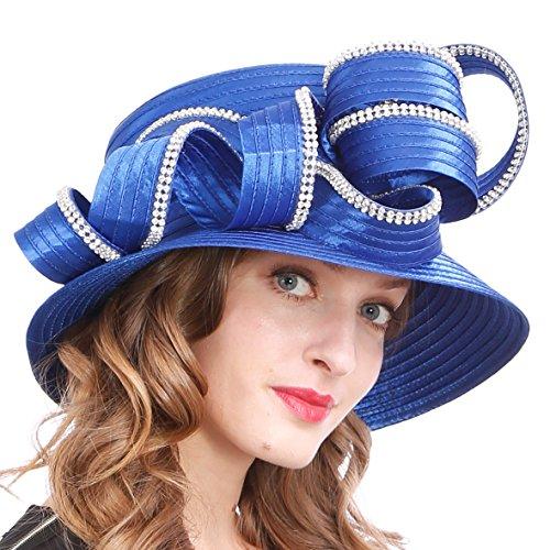 (Womens Tea Party Church Baptism Kentucky Derby Dressy Hat (Rhinestone-Blue) )