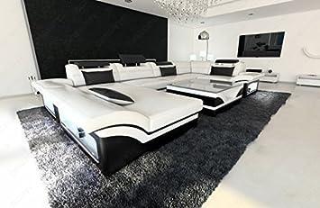 Wohnlandschaft Design | Luxus Wohnlandschaft Enzo U Form Designer Couch Mit Led Weiss