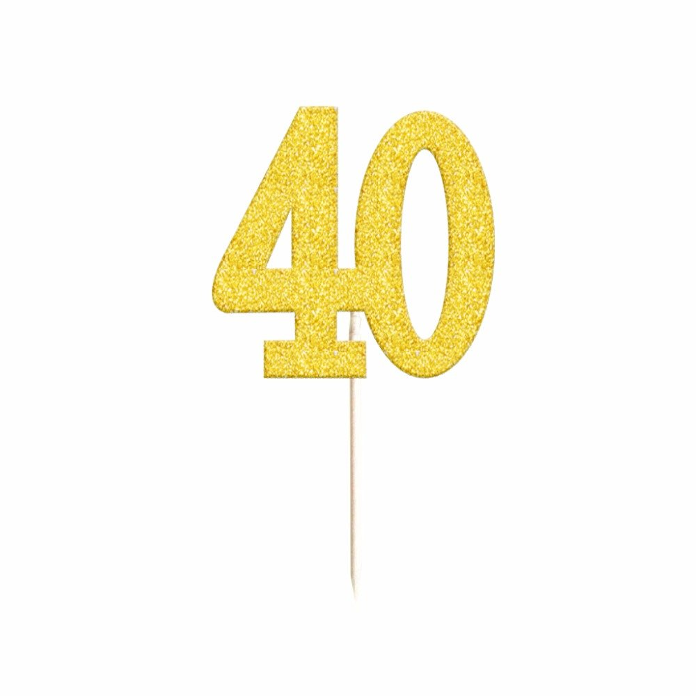 40th Birthday Cupcake Toppers Gold Glitter Forty 40 Fortieth Anniversary Party Decoration Retirement (Pack of 20) by Craft Boutique (Image #1)