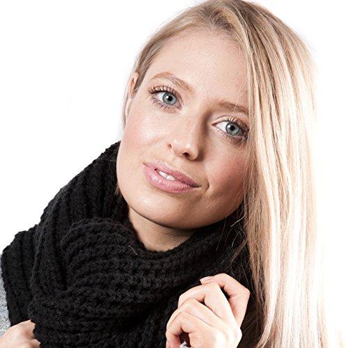 unisex Snood Accessoryo maglia nero con pesante torsione a motivo in 7qqTEx6wrd
