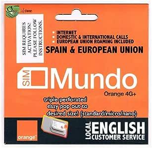 7 GB + 400 min. Dom. & International Calls! El primer uso debe estar en España y luego puede ir a cualquier lugar de la Unión Europea. Paquete Válido 30 días. No