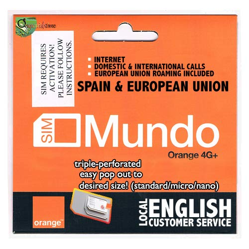 7GB + 400 min. dom. & International Calls! 1st USE Must BE in Spain Then You can go Anywhere in The European Union. Bundle Valid 30 Days. NO European CC Needed to top up. English Cust. Service. (Best Sim Card To Use Abroad)