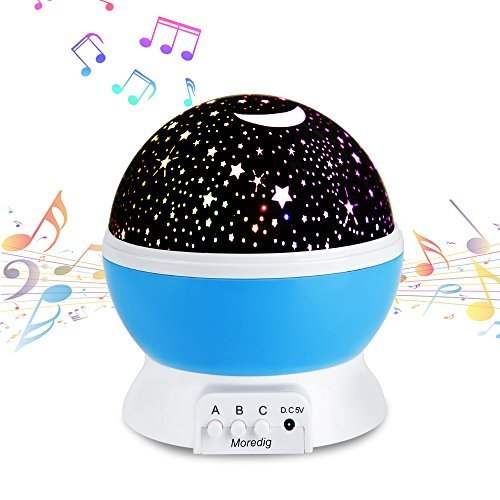 Music Night Light Projector Lamp Baby Star Projector 360 Degree Rotating 8 Multicolor Changing With Rechargeable Battery 12 Soft Light Music For Relax And Sleep Unique Lamp For Kids Children Room Blue