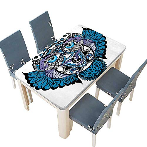 PINAFORE Polyester Owl Bird Animal with Paisley Tattoo Decor with Big Blue Eyes Lashes Navy Spillproof Fabric Tablecloth W61 x L100 INCH (Elastic Edge)