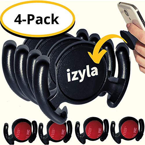 izyla Car Mount for Pop Socket [4 Pack] - Cell Phone Holder Sticky Adhesive designed for Android or iPhone, works with PopSockets. Sturdy Car Dashboard Mount, GPS Navigation, Bathroom, Wall [4 Mounts]