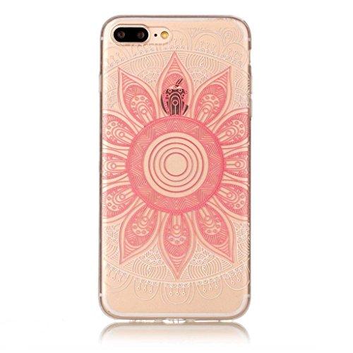 """Crisant Case Cover For Apple iPhone 7 Plus 5.5"""" (5,5''),Motif rose Premium gel TPU souple Très mince Transparent Clair Bumper silicone protection Housse arrière coque étui Pour Apple iPhone 7 Plus 5.5"""