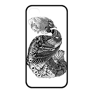 Black and White Peacock Protective Rubber Printed Cover Case for iPhone 4,iPhone 4s Cases