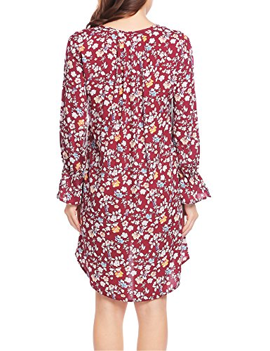 Shirt Asymmetric Shift Print Casual Batwing Red Wine T UNibelle Women's Sleeve Dress 2 qtXXY8