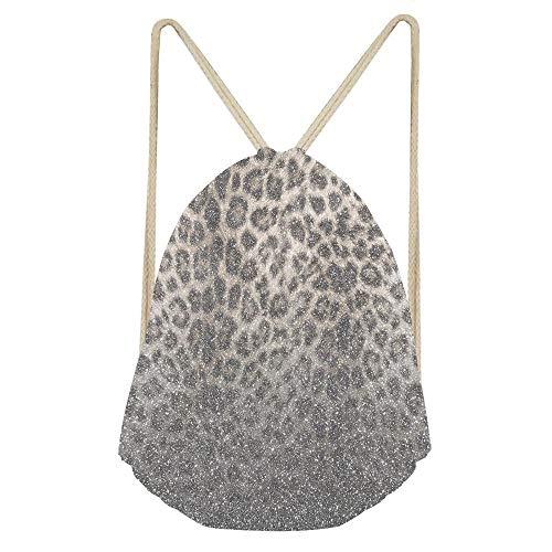 Shimmer snow Leopard Glitter Abstract Drawstring Backpack Bag Men & Women Sport Gym Sack Cinch Bag