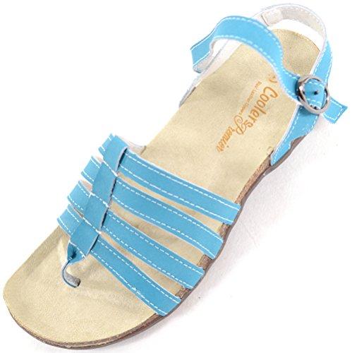 Mesdames Turquoise Cuir Attaché chaussures plage Sandales vacances Été En Femme pour vyPrvYqw