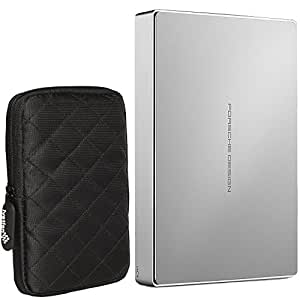 External HDD LaCie Porsche Design Mobile Drive 4TB USB 3.1 and Ivation Large Soft Hard Drive Case