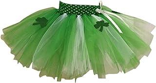 Amosfun Jupe Tutu Enfant Fille St Patrick Trèfle Jupe de Ballet Danse avec 2 Couches pour Bébés Filles Ballerine Costume Irlandais Vert Taille XL 7-8 Ans