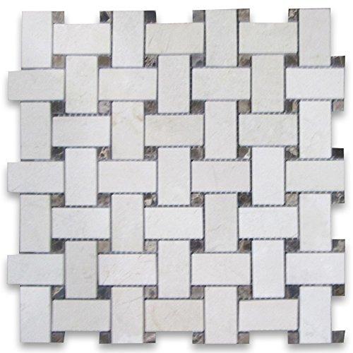 Crema Marfil Marble 1x2 Basketweave Mosaic Tile w/ Emperador Dark Dots Polished -