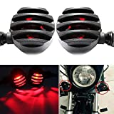 2x Amber Motorcycle Black Bullet Front Rear Turn Signal Blinker Indicator Light (Red Lens)