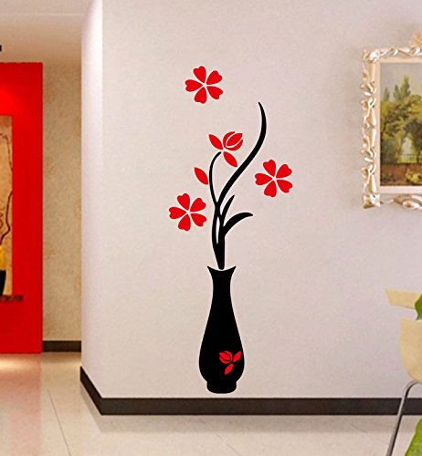 Decor Kafe Red Flower and black Flower Pot Wall Sticker Standard Size - 30cm X 83cm Color -...