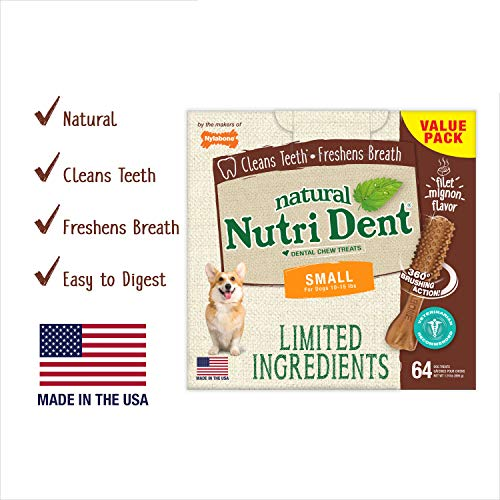 Nutri Dent Limited Ingredient Dental Dog Chews | Small Size | Filet Mignon or Fresh Breath Flavors