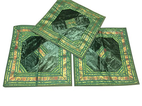 Set Of 3 Square Silk Cushion Cover Indian Sari Border Boho Green Toss Pillow Cases