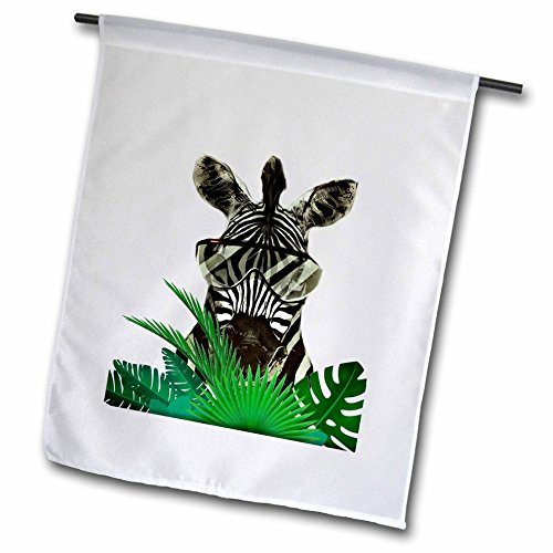 3dRose Sven Herkenrath Animal - Zebra with cool Sunglasses and green Plant Wild Design Art Animal Nature - 12 x 18 inch Garden Flag - Nature Sunglasses