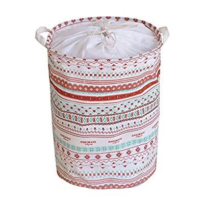 Betwoo Foldable Nursery Laundry Hamper Dirty Clothes Storage Baskets with Drawstring (Lid Bohemia) - Nature material: 100% natural linen and cotton fabric + waterproof PE coating inside Size:Height(include handle) X Diameter:17.7 X 13.7inches Foldable design:It can be quickly folded flat for storage when not in use,save more space and be portable for outdoor - laundry-room, hampers-baskets, entryway-laundry-room - 51FvFTIGdRL. SS400  -