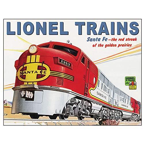 Lionel Train Santa Fe Tin Sign - 16