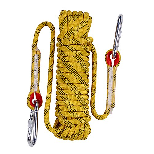 Rock Climbing Rope, 12mm Diameter Outdoor Hiking Accessories High Strength Cord Safety Rope(10m,32ft)(20m,64ft) (30m,94ft) (Yellow, 64ft)