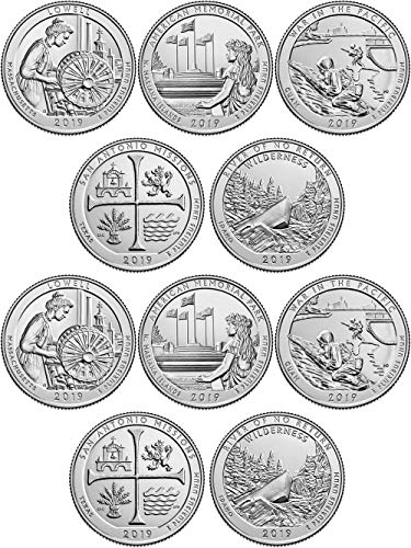 2019 P and D Complete Set of 10 National Park Quarters - 10 Uncirculated Coin