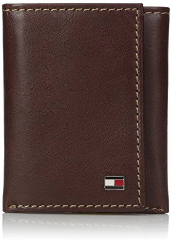 Tommy Hilfiger Men's Trifold Wallet-Sleek and Slim Includes ID Window and Credit Card Holder, tan, One -