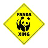 "Panda Crossing Sign Zone Xing | Indoor/Outdoor | 12"" Tall bear zoo china kid child boy girl wall entry"