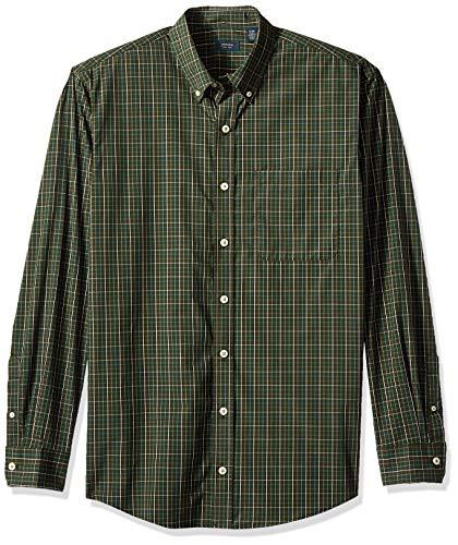 Arrow Men's Big and Tall Hamilton Poplins Long Sleeve Button Down Plaid Shirt, Deep Rosin, Large (Arrow Green Dress Shirt)