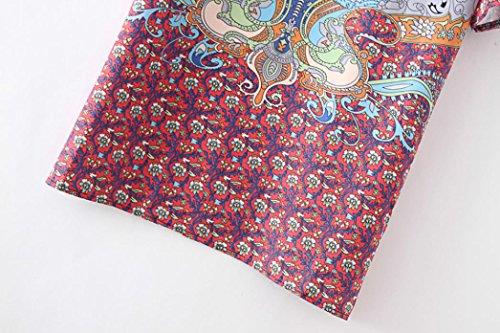 Vovotrade FeiTong bohemia de las mujeres corbata antiguas impreso del estilo étnico del verano Vestido suelto Rojo